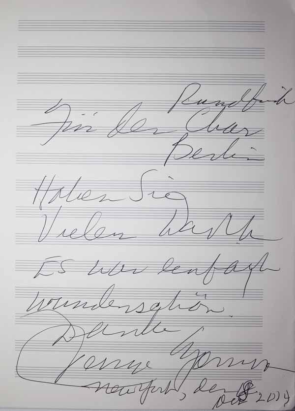 Widmung von Jessye Norman an den Rundfunkchor Berlin