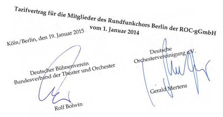 Unterschriebender Tarifvertrag beim Rundfunkchor Berlin